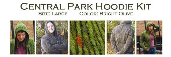 central park hoodie kit large olive