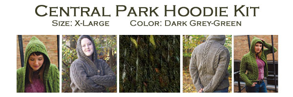 Knitting Pattern Central Park Hoodie : Central Park Hoodie Kit Size X-Large Dark Grey-Green