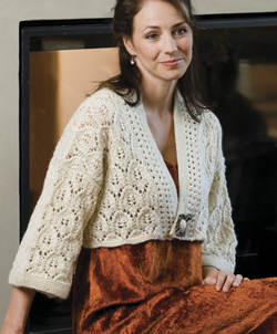 Ivory Leaves Cropped Jacket from Knitted Jackets by Cheryl Oberle