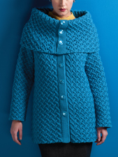 Cabled Coat with Cape Collar