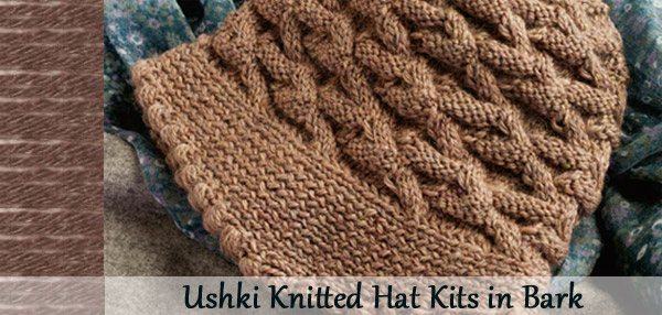 ushki knitted hat kit in bark