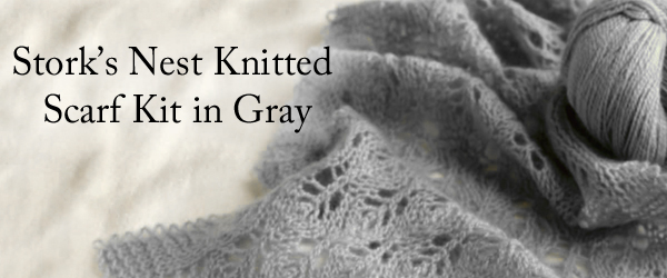 Stork's Nest Knitted Scarf Kit in  Gray