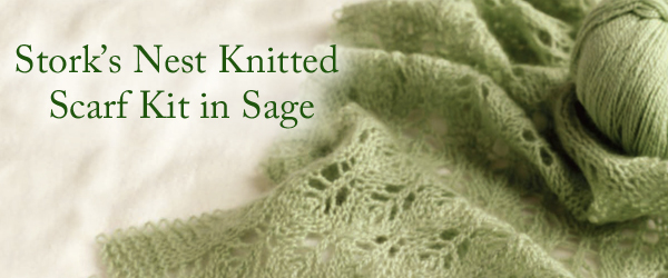 Stork's Nest Knitted Scarf Kit in Sage