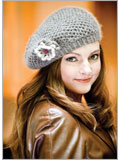 Hat and Crochet Flower Pattern: Sweet Honey Beret