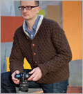 Knitting patterns for men's sweaters: Lattice and Hollow Cardigan