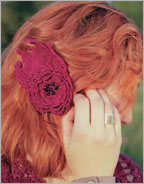 Crocheted Flower Pattern: Fire Flower Hair Clip