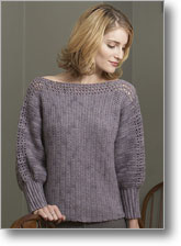 Knit Pattern Half Sleeve Boat Neck Loose Knit Cotton Sweater