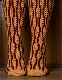 Crochet Socks - Red Twig Knee Socks by Patsy Harbor