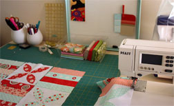 The sewing station in Lisa and Sarah's sewing/crafts studio.
