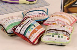 Cute selvedge pincushions are a great way to use up scraps.