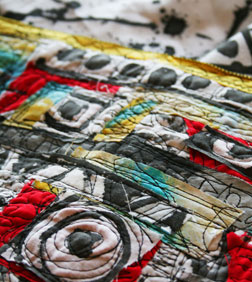 Alisa Burke combines dynamic stitching with a playful use of color.