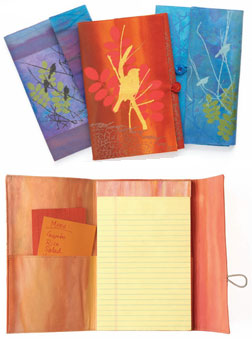 Closed and open views of Diane Rusin Doran's quilted notebook covers.