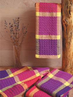 Colorful Huck Lace Towel Kit: Weave Your Own Handmade Towels